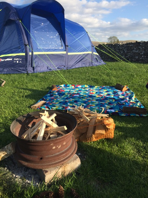 Camp fire is set up ready to light